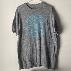 Men's Hurley Tee - Heather Gray w/ Turquoise logo